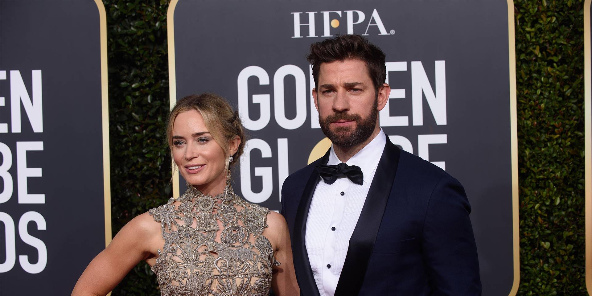 Emily Blunt mit Ehemann John Krasinski an den Golden Globes 2019.